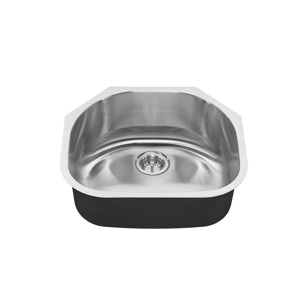 Portsmouth Undermount Stainless Steel 23 in. 0-Hole Single Bowl Kitchen Sink Kit