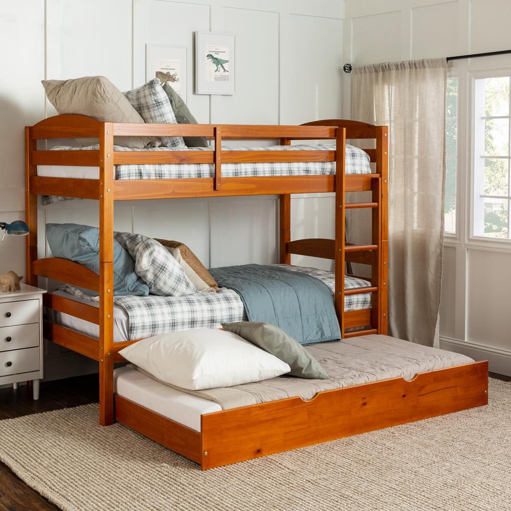 Welwick Designs Solid Wood Twin Over Twin Bunk Bed Storage Trundle Bed Honey Hd8446 The Home Depot