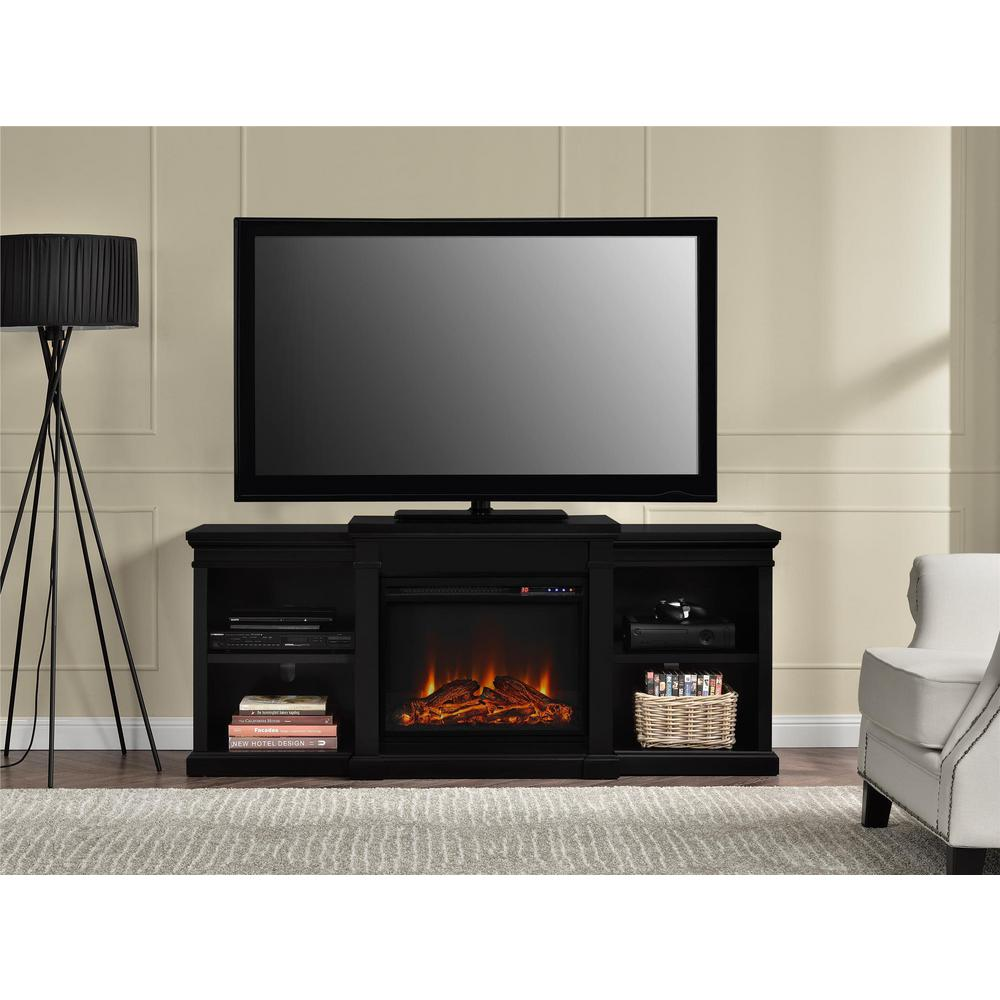 Create a beautiful focal point to any room in your home with this Altra Furniture Manchester Black Fire Place Entertainment Center.