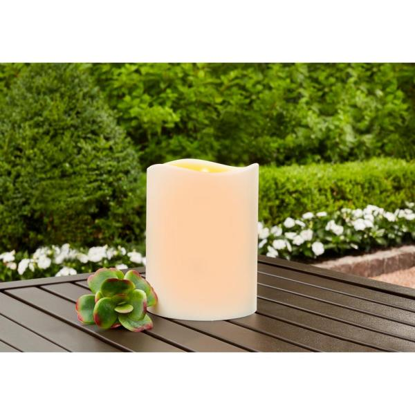 Hampton Bay 4.5 in. x 6 in. Remote Ready Battery Operated Outdoor Patio Resin LED Candle