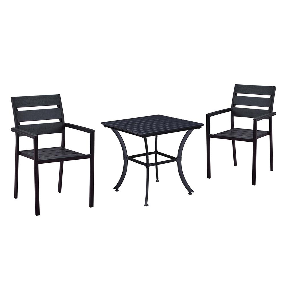 Modern Contemporary Black 3 Piece Metal Square Outdoor Dining Set With  Slatted Faux Wood And