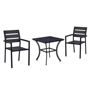 Modern Contemporary Black 3-Piece Metal Square Outdoor Dining Set with Slatted Faux Wood and Stackable Chairs
