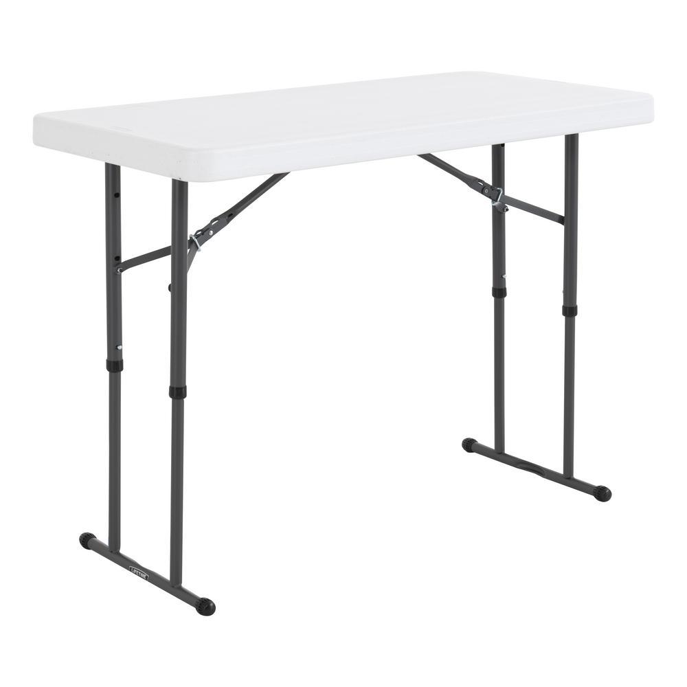 4 ft. White Granite Resin Adjustable Height Commercial Folding Table