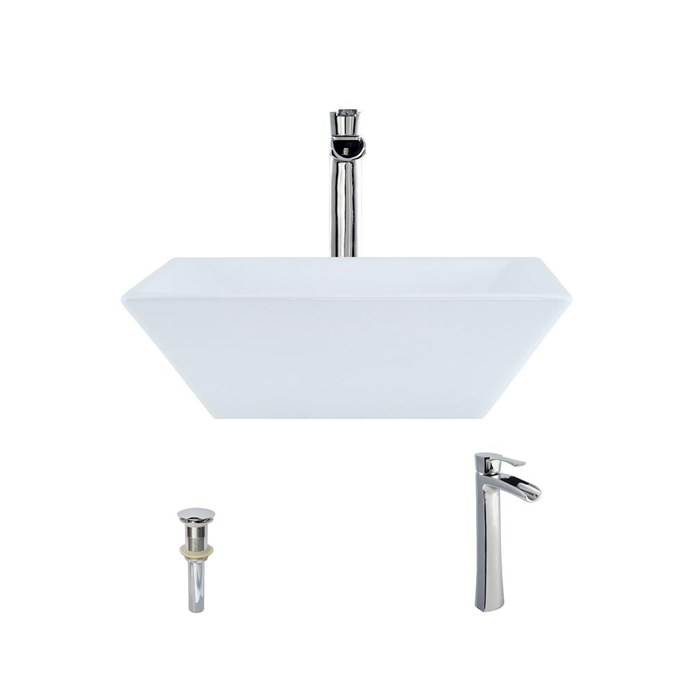 Superior MR Direct Porcelain Vessel Sink In White With 731 Faucet And Pop Up Drain  In Chrome V170 W 731 C   The Home Depot