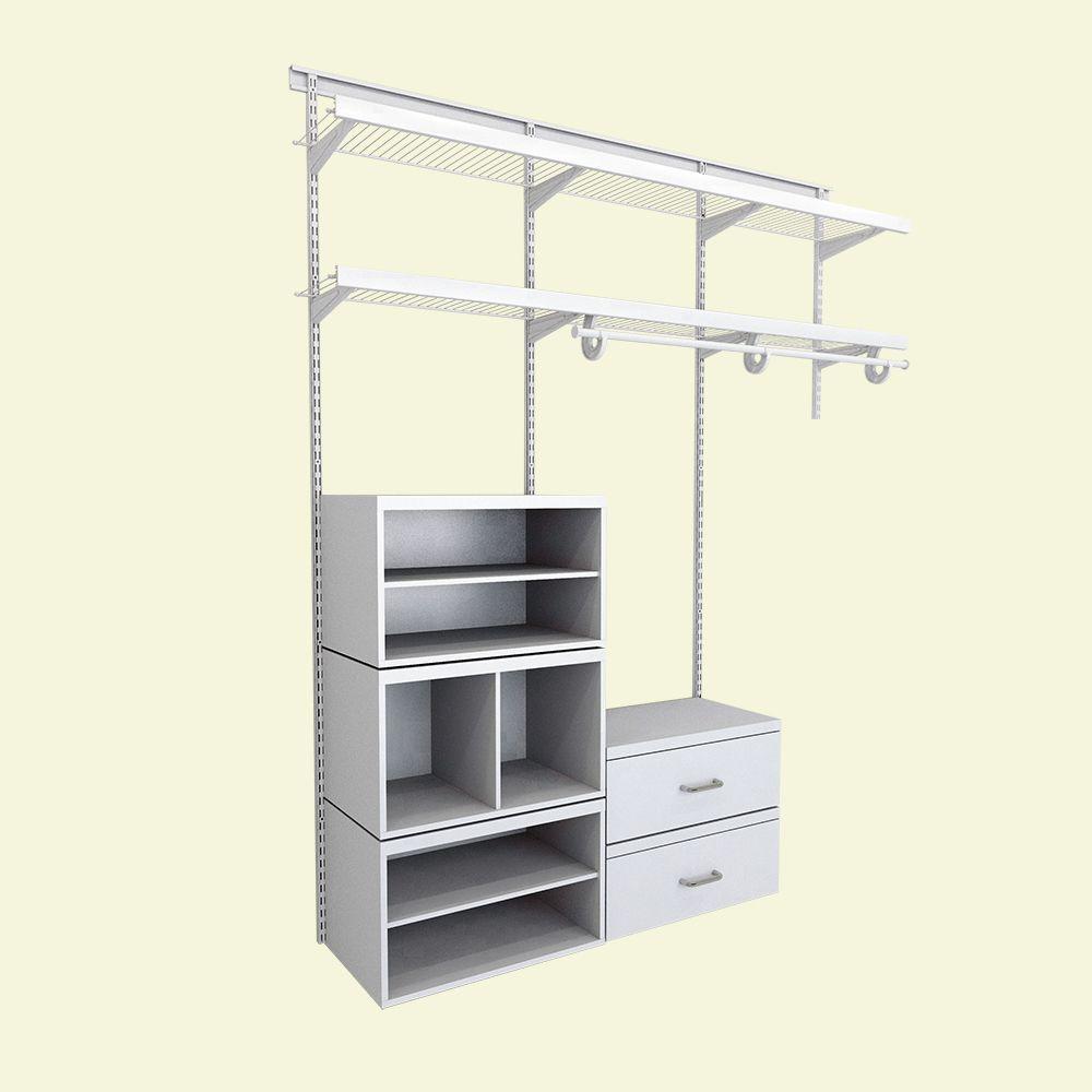 Shelftrack collection in white storage organization - Closetmaid design tool home depot ...