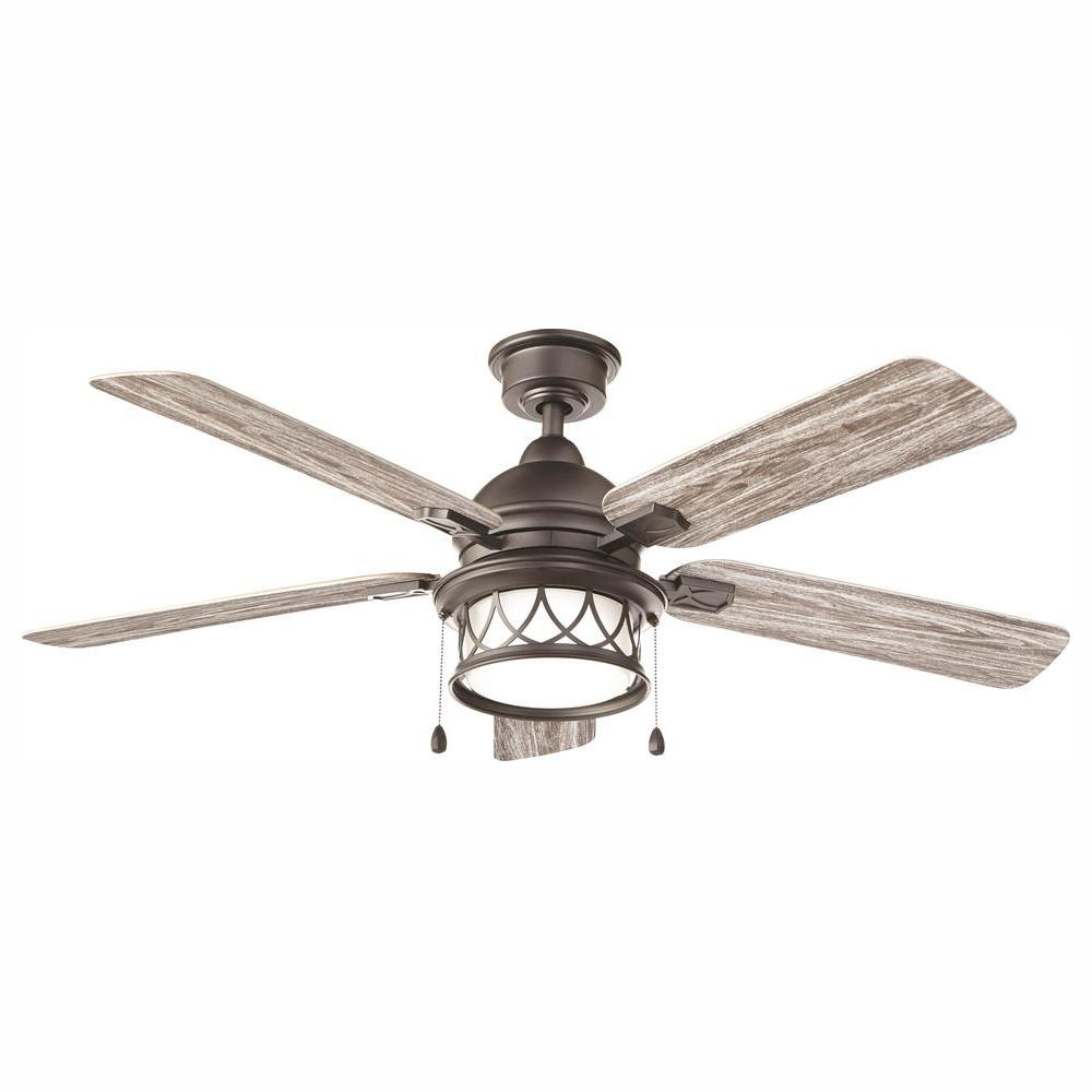 Home Decorators Collection Artshire 52 in. Integrated LED Indoor/Outdoor Natural Iron Ceiling Fan with Light Kit