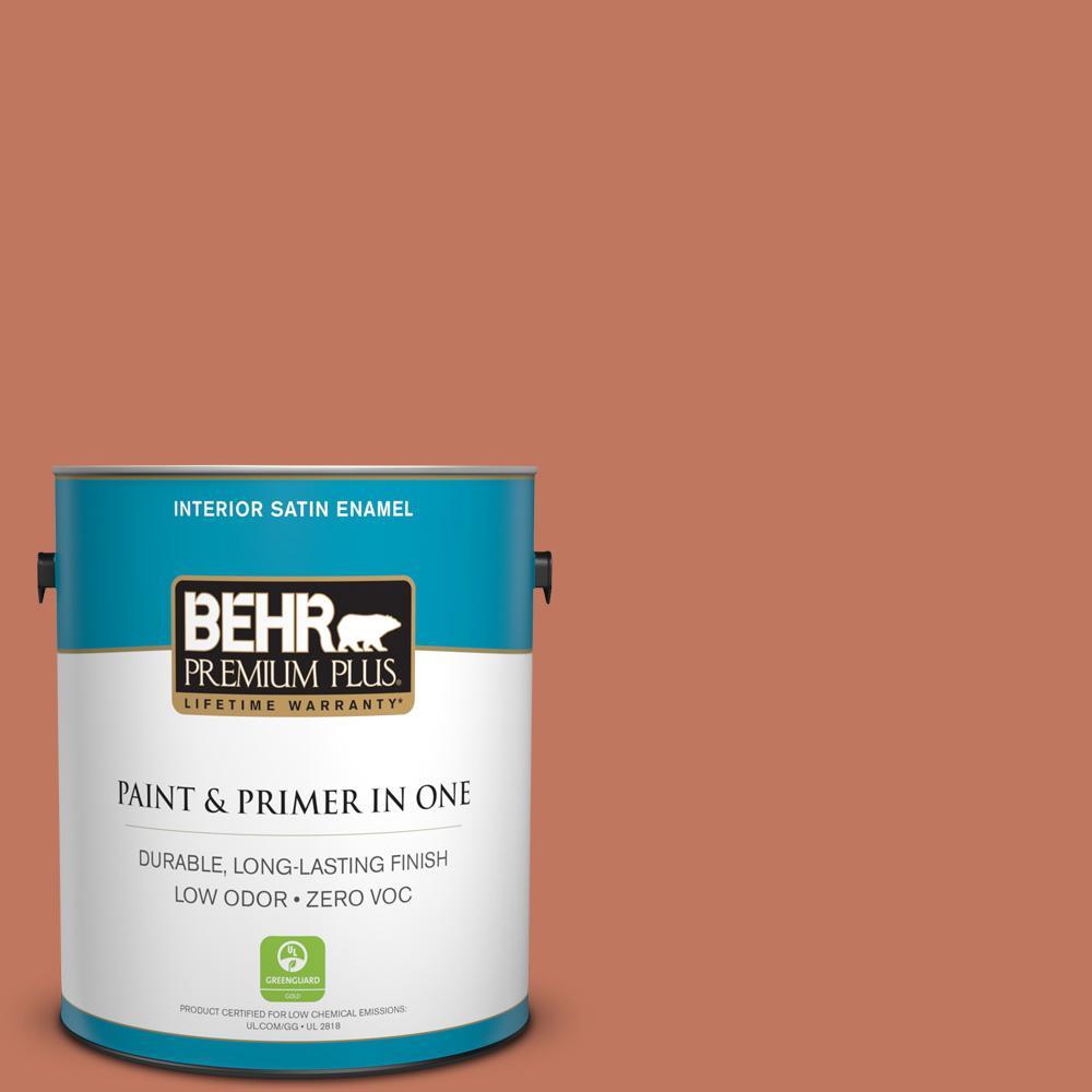 BEHR Premium Plus 1-gal. #210D-6 Caribbean Coral Zero VOC Satin Enamel Interior Paint
