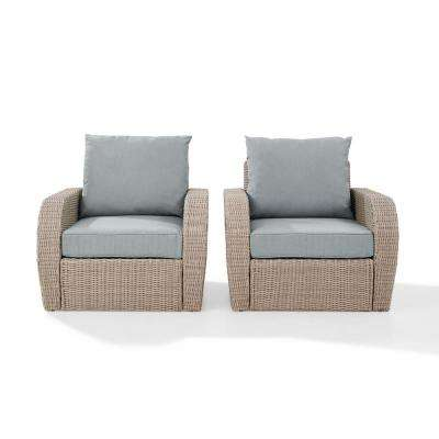 St Augustine 2-Piece Wicker Patio Outdoor Seating Set with Mist Cushion - 2 Wicker Outdoor Chairs