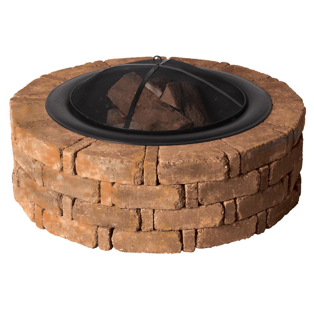 Pavestone RumbleStone 46 in. x 14 in. Round Concrete Fire Pit Kit No. 2 in Sierra Blend