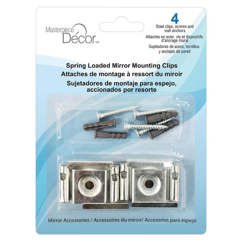 Masterpiece Decor Spring Loaded Mirror Mounting Clips 4 Pack 82003