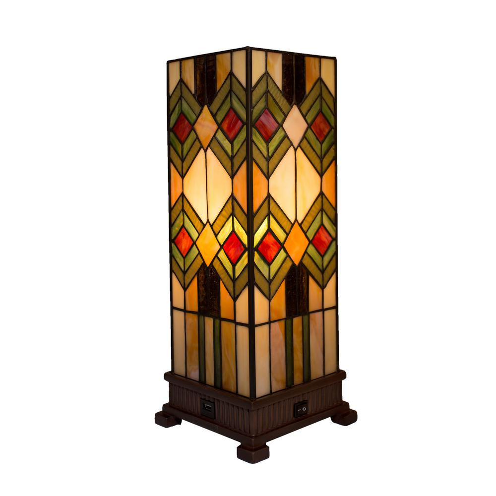 River of Goods 17.25 in. Multi-Colored Mission Style Table Lamp with Built-In USB Port