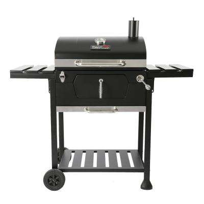 23 in. Charcoal BBQ Grill in Black with 2-Side Table