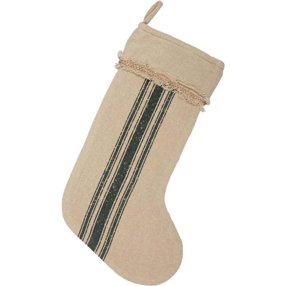 20 in. Cotton Green Vintage Burlap Stripe Farmhouse Christmas Decor Stocking