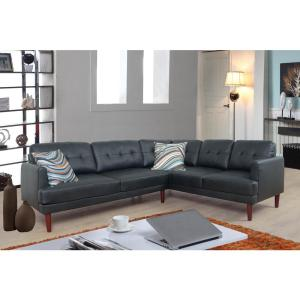 Astounding Black Faux Leather Sectional Sofa Set 2 Piece Sh5001A Unemploymentrelief Wooden Chair Designs For Living Room Unemploymentrelieforg