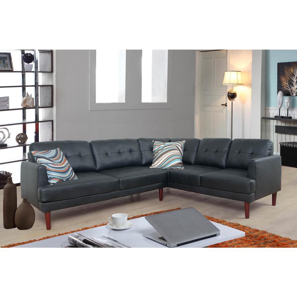 Black Faux Leather Sectional Sofa Set (2-Piece)