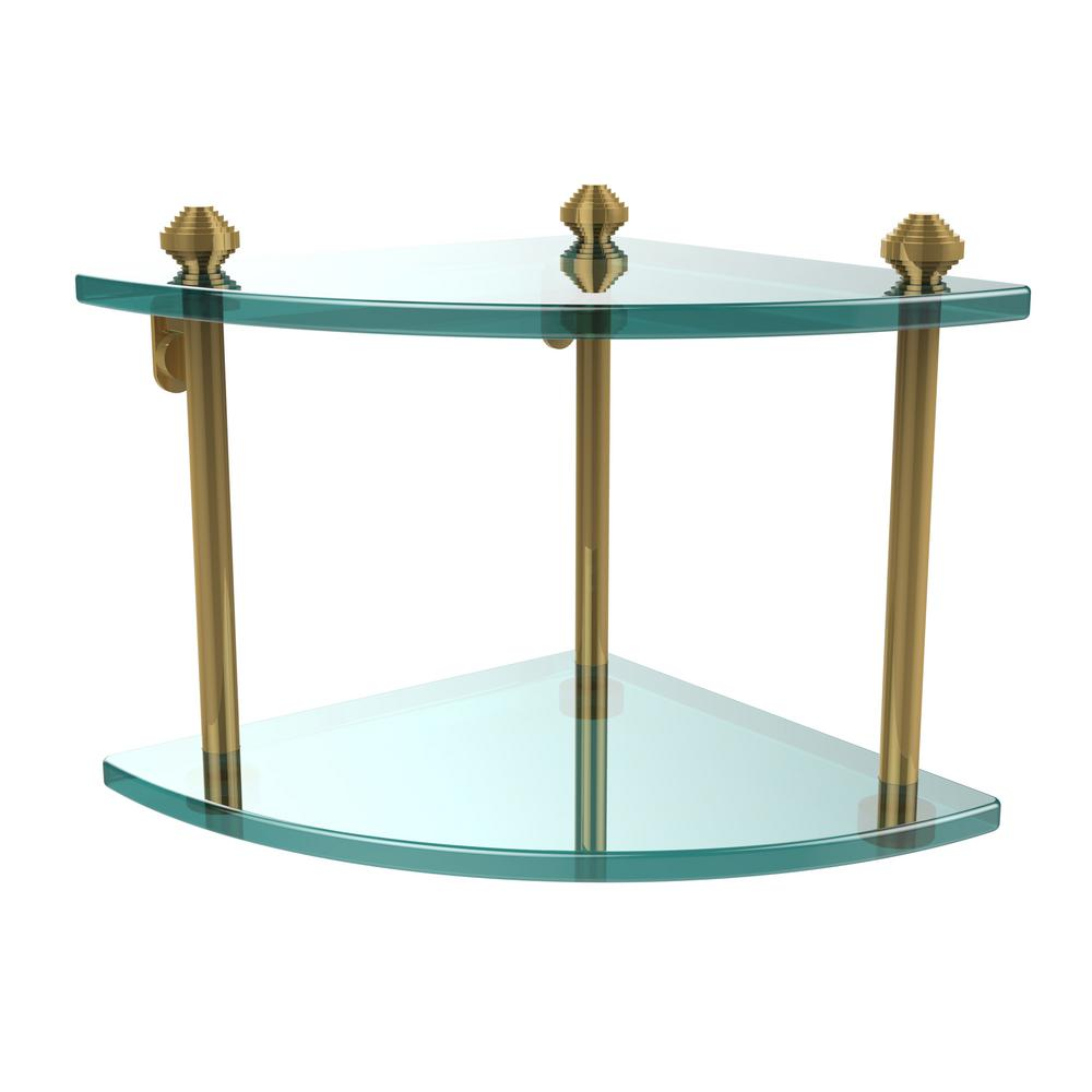 Allied Brass Southbeach Collection 8 in. 2-Tier Corner Glass Shelf ...