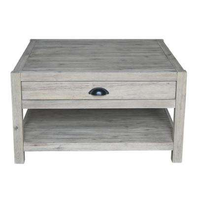 Wirebrushed Sandy Gray Acacia Wood Square Coffee Table