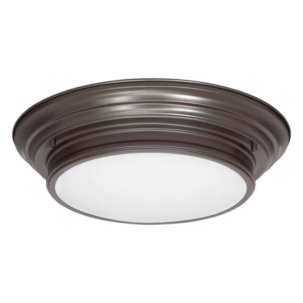 Progress Lighting 15.25 in. Boundless Collection 17-Watt Antique Bronze Integrated LED Flushmount