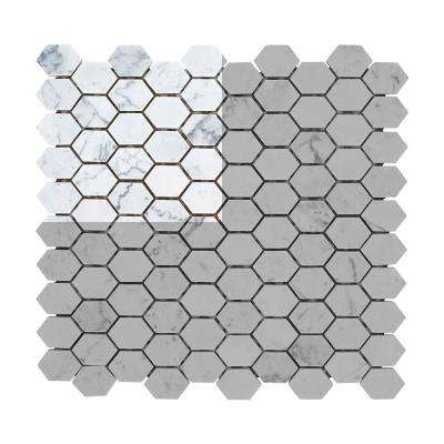 Carrara Constellation 3 in. x 6 in. x 8 mm Marble Mosaic Tile Sample
