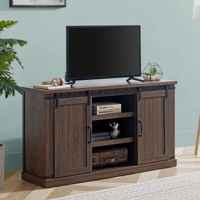 54 in. Saw Cut Off Espresso TV Stand (Fits TVs up To 60 in.)