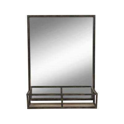 Jackson Distressed 22 in. x 28 in. Metal Mirror with Wood Shelf in Black