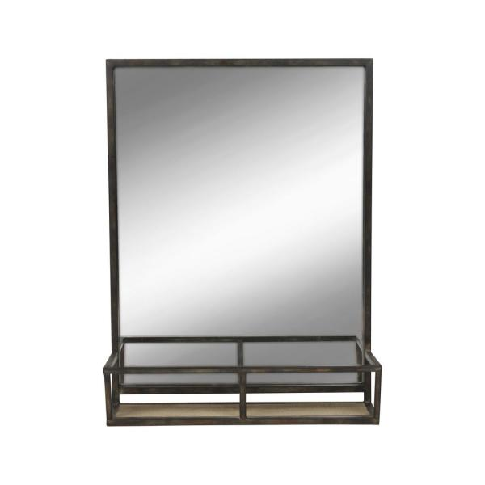 Metal Mirror With Shelf  Black Wall Storage Chic Vintage Industrial Home Decor