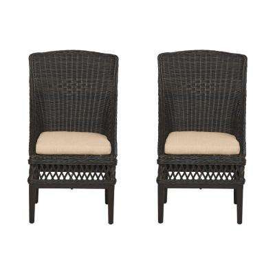 Woodbury Dark Brown Wicker Outdoor Patio Dining Chair with CushionGuard Toffee Tan Cushions (2-Pack)