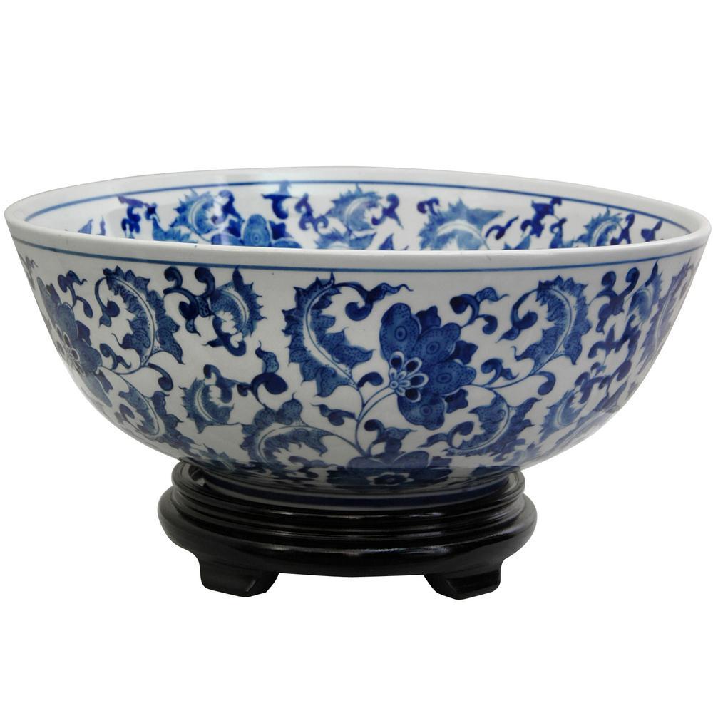 Oriental Furniture 14 in. Porcelain Decorative Bowl in Blue