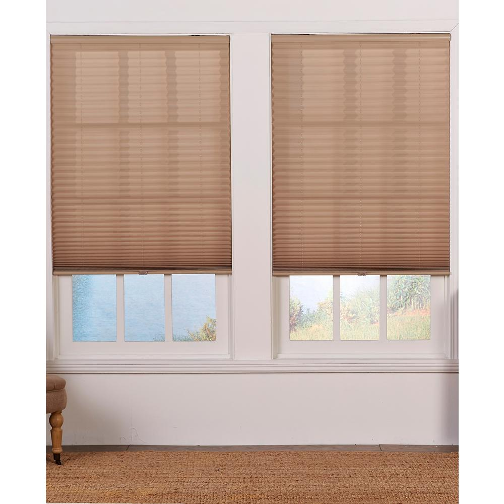 Perfect Lift Window Treatment Camel 1 In Light Filtering Cordless Pleated Shade 29 W X 72 L