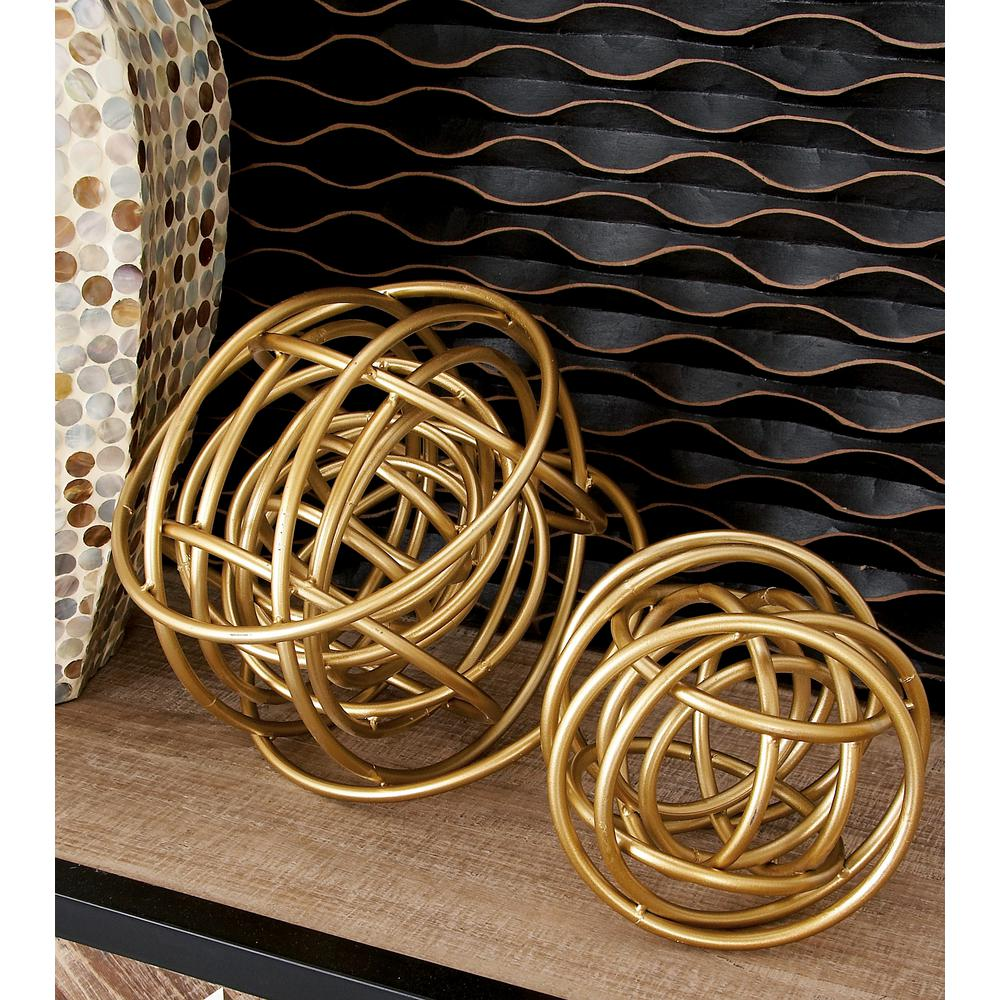 Litton Lane Round Iron Metal Gold Rings Orb Sculptures (Set of 2 ...