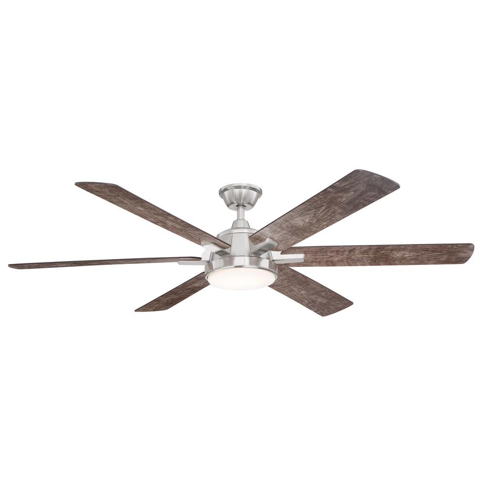 Home Decorators Collection Carden 66 in. LED Brushed Nickel Ceiling Fan with Light and Remote Control