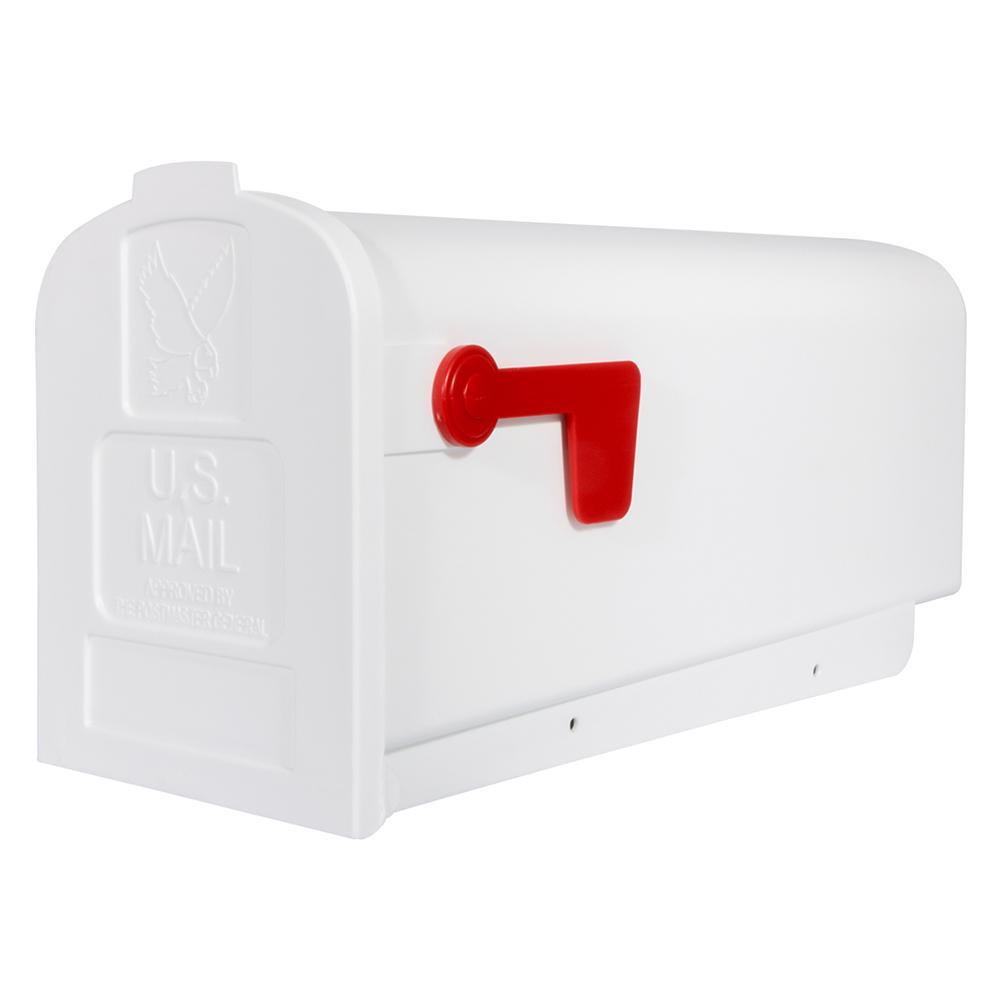 Deluxe Polybox Post-Mount Mailbox, White, Whites