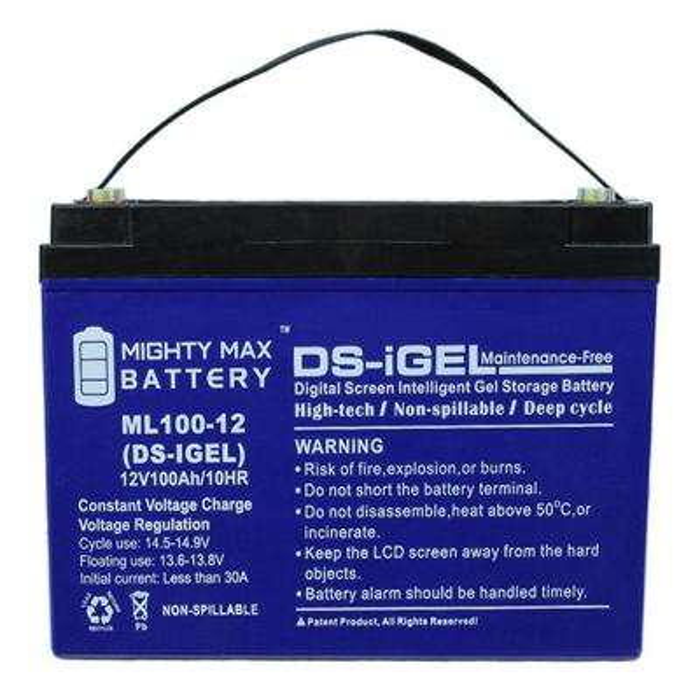 12-Volt 100 Ah Sealed Lead Acid (SLA) Rechargeable GEL Battery