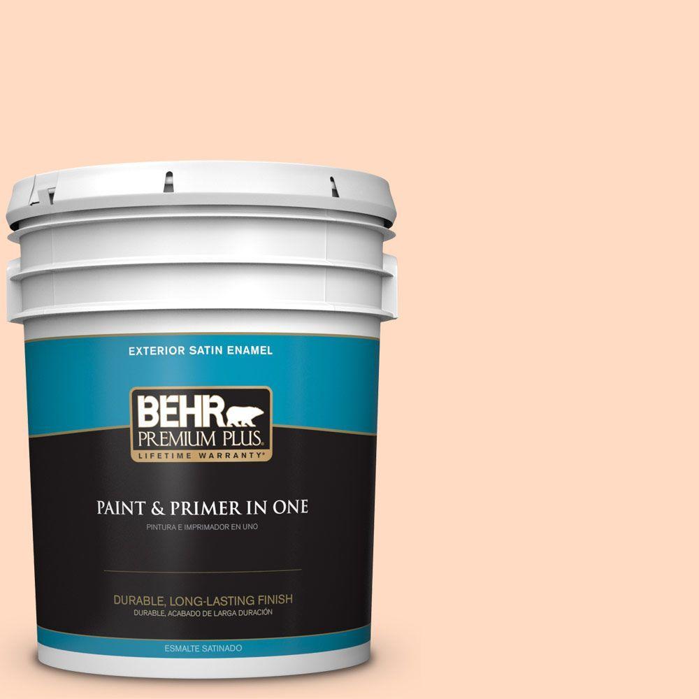 BEHR Premium Plus 5-gal. #250A-3 Whispering Peach Satin Enamel Exterior Paint