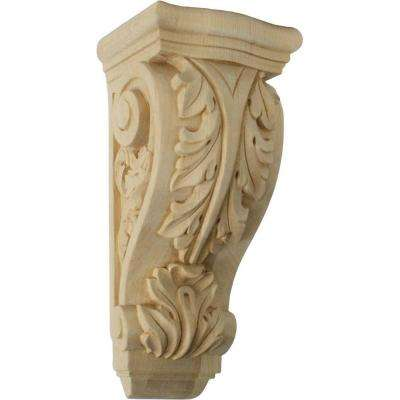 5-1/4 in. x 4-3/4 in. x 12 in. Unfinished Maple Medium Farmingdale Acanthus Corbel