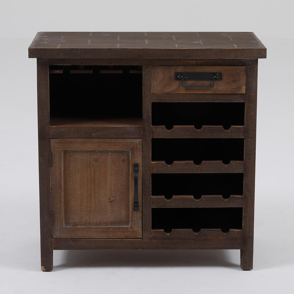 Winsome House 12-Bottle Natural Wine Station Console Cabinet This gorgeous wine station cabinet is perfect for storing your wine glasses, wine, and other bar accessories. Create your own wine station with its open bottom wine rack storage and top cubby for hanging your wine glasses. This wine station cabinet also features a single drawer for storing your bar and wine accessories, and bottom cubby with door. The wine cabinet stores approximately 12 bottles. Color: Natural.