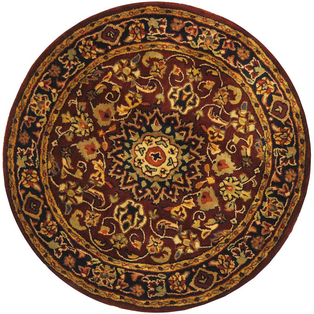 safavieh classic burgundy navy 4 ft x 4 ft round area rug cl362a 4r the home depot. Black Bedroom Furniture Sets. Home Design Ideas