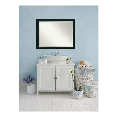 Corvino Black Wood 45 in. W 35 in. H Contemporary Bathroom Vanity Mirror