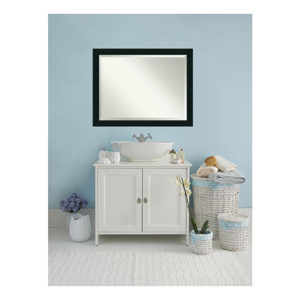 Corvino Black Wood 45 in. W 35 in. H Contemporary Bathroom Vanity Mirror