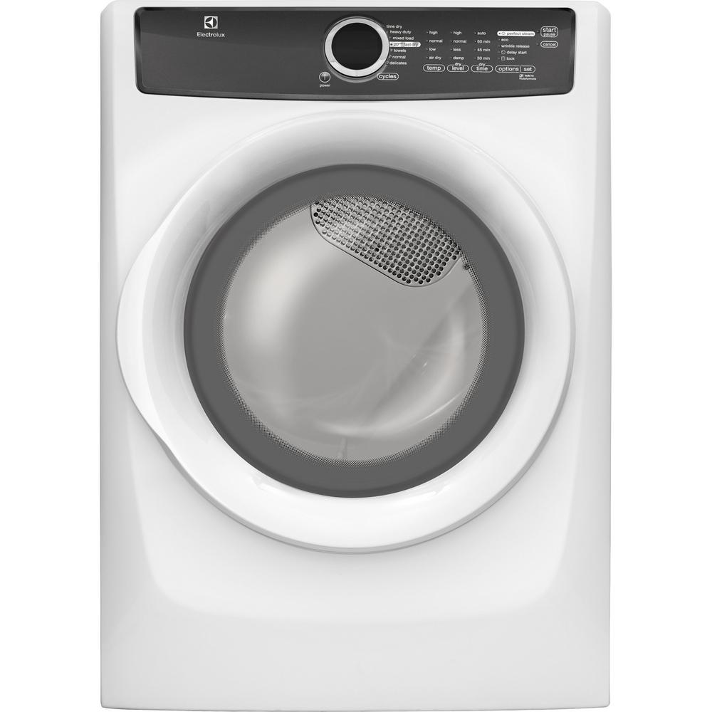 Electrolux 8.0 cu. ft. Electric Dryer with Steam in White, ENERGY STAR