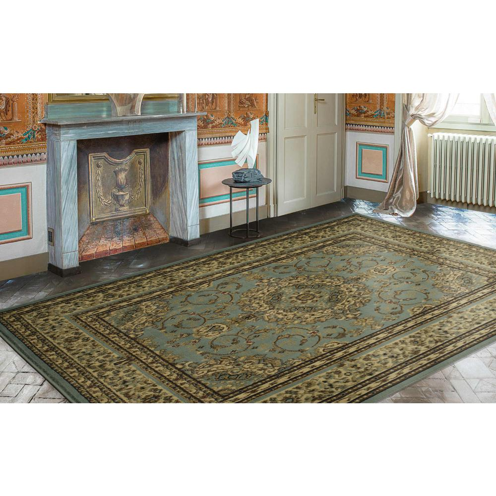 Ottomanson Traditional Oriental Medallion Light Blue 7 ft. 10 in ...