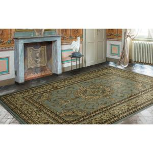 Ottomanson Traditional Oriental Medallion Light Blue 7 ft. 10 inch x 9 ft. 10 inch Area... by Ottomanson
