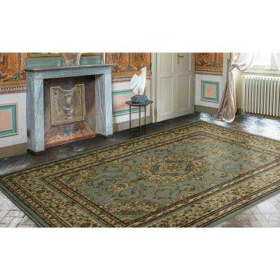 Traditional Oriental Medallion Light Blue 7 ft. 10 in. x 9 ft. 10 in. Area Rug