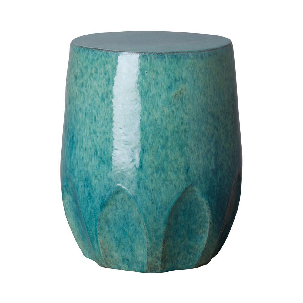Emissary Tx Blue Ceramic Garden Stool 1259bl The Home Depot