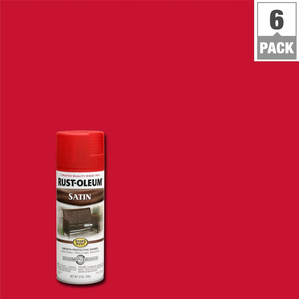 Rust Oleum Stops 12 Oz Protective Enamel Satin American Red Spray Paint