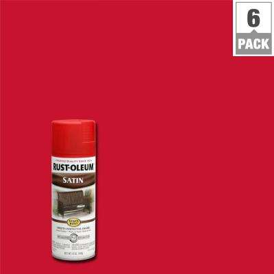 12 oz. Protective Enamel Satin American Red Spray Paint (6-Pack)