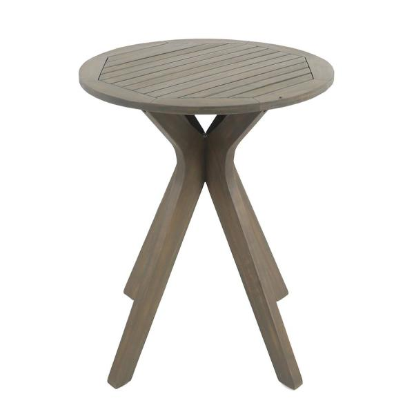 Stamford Gray Round Wood Outdoor Bistro Table with X-Legs