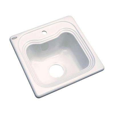 Oxford Drop-In Acrylic 16 in. 1-Hole Single Bowl Entertainment Sink in Bone