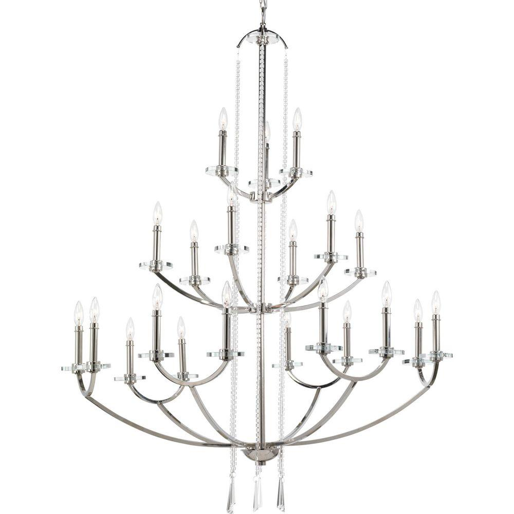 Progress Lighting Nisse Collection 21 Light Polished Nickel Chandelier With  Shade