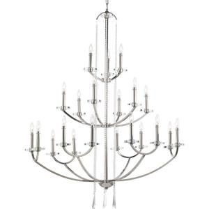 Nisse Collection 21-Light Polished Nickel Chandelier with Shade